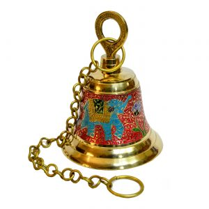 Antikcart Temple Bell Brass Mandir Bell with Meenakari Artwork