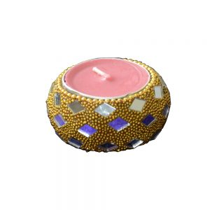 Antikcart Chirangdaan Glass Artwork Tea Light Holder main pic