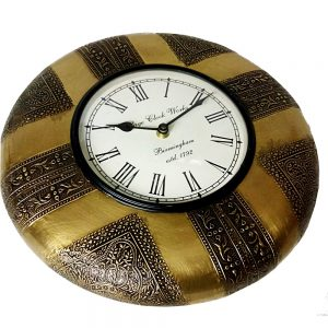 Antikcart Embossed Brass Classic Round Wall clock