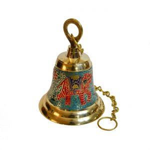 Mandir Bell - Antikcart Meenakari Handcarved Brass Temple Bell