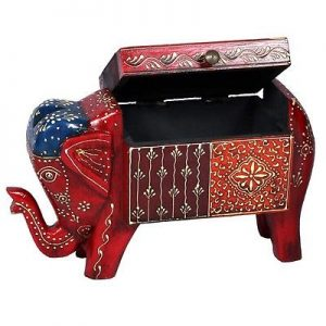 Antikcart Rajasthani Minakari Elephant Shape Box for Storage