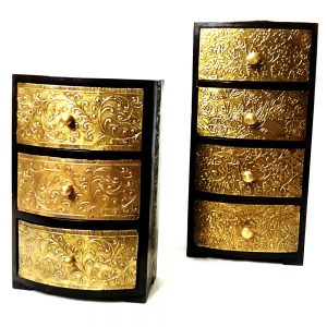 Antikcart Vintage Embossed Brass Chest Of Drawers set of 2
