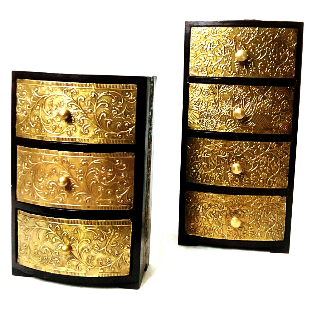 Vintage Embossed Brass Chest Of Drawers Antikcart
