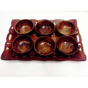 Arvi Sheesham Wood Serving Tray Bowl set by Antikcart