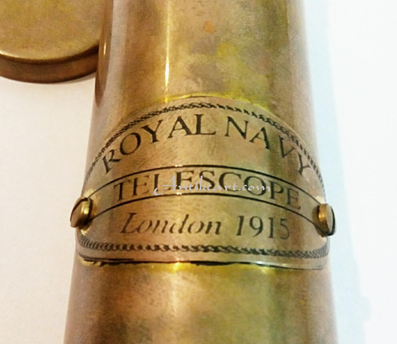 London 1915 Royal Navy Brass Telescope Antikcart
