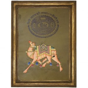 Antikcart-Exclusive-Beautiful-Royal-Painting-Of-Palace-Camel-on-Stamp-Paper-Framed-Framed-Painting