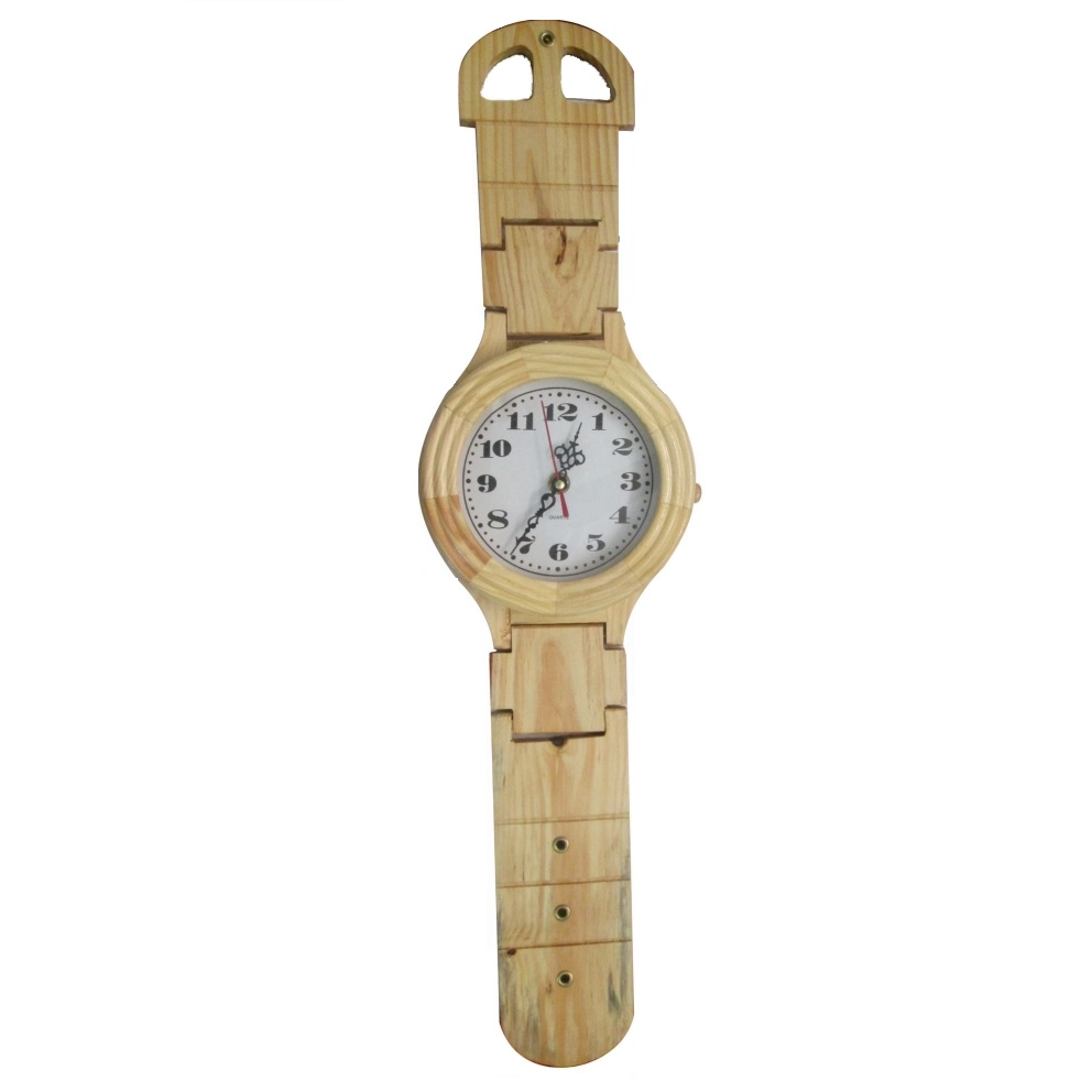 Wooden Wrist Watch Clock Decor 14 inch long Antikcart