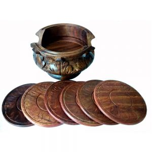 Antikcart Hand carved Wooden Tea Coaster Set Table Decor