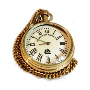 Antikcart Superior Ship Time Keeper Brass Pocket Watch