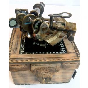 Antique Marine Navigator Tool with Leather Box set
