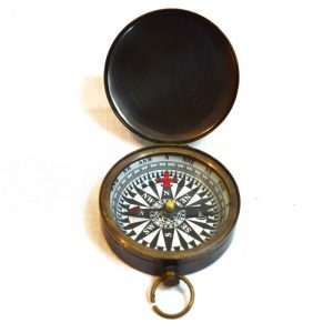 Antikcart Black Finish Vintage Brass Pocket Compass