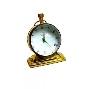 Winding Table Clock Antikcart-Mechanical-Winding-Table-Clock-With-Brass-Base