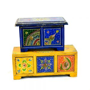 Antikcart Meenakari Artwork Wooden Drawer Chest