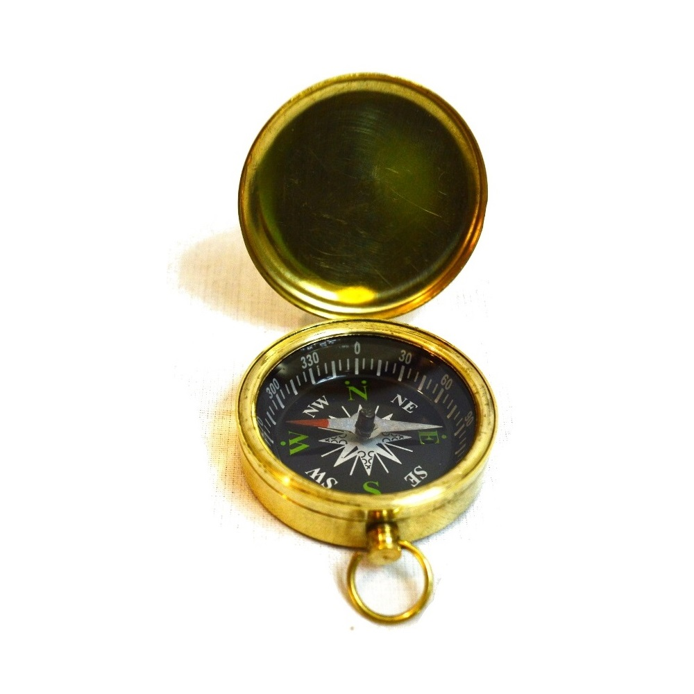 Small Vintage Brass Pocket Compass Antikcart