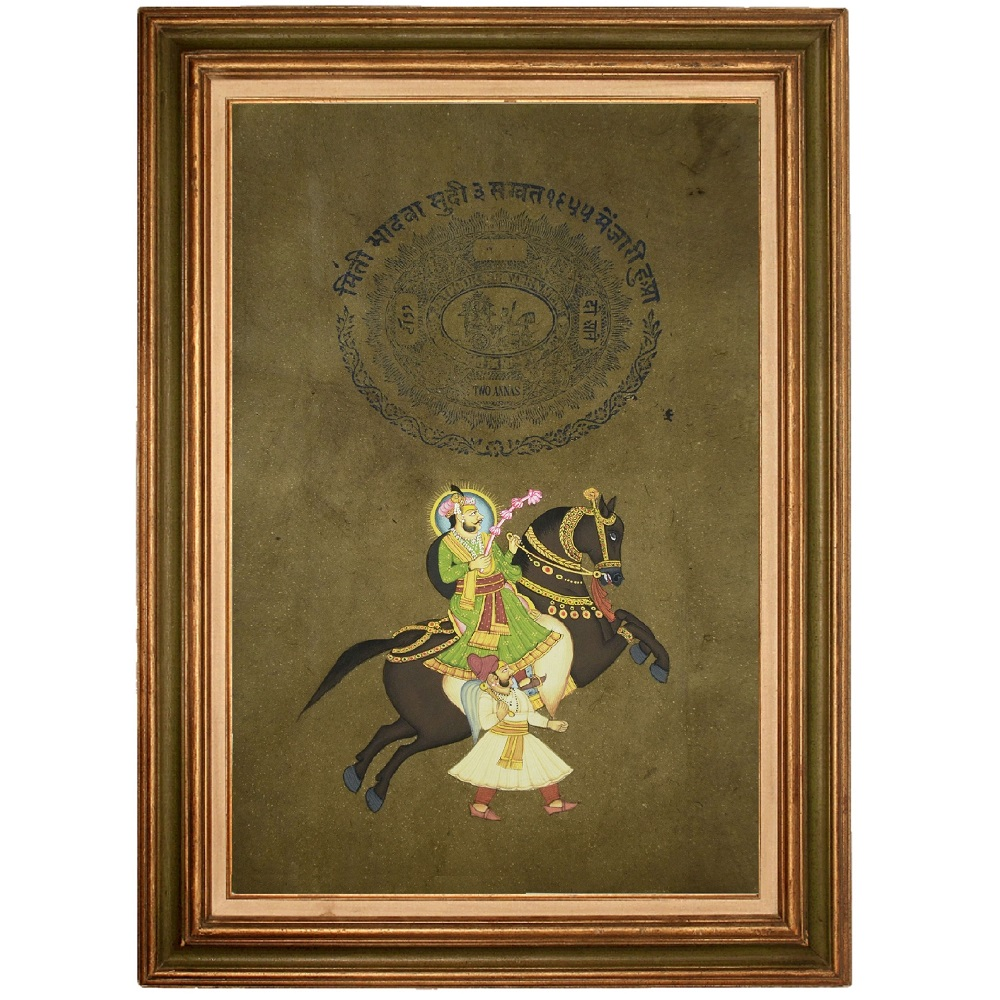 Indian Art Stamp Paper Painting of Mughal King Horse Riding - Antikcart