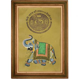 Ancient Royal Painting of Palace Elephant on Old Stamp paper by Antikcart-Framed View