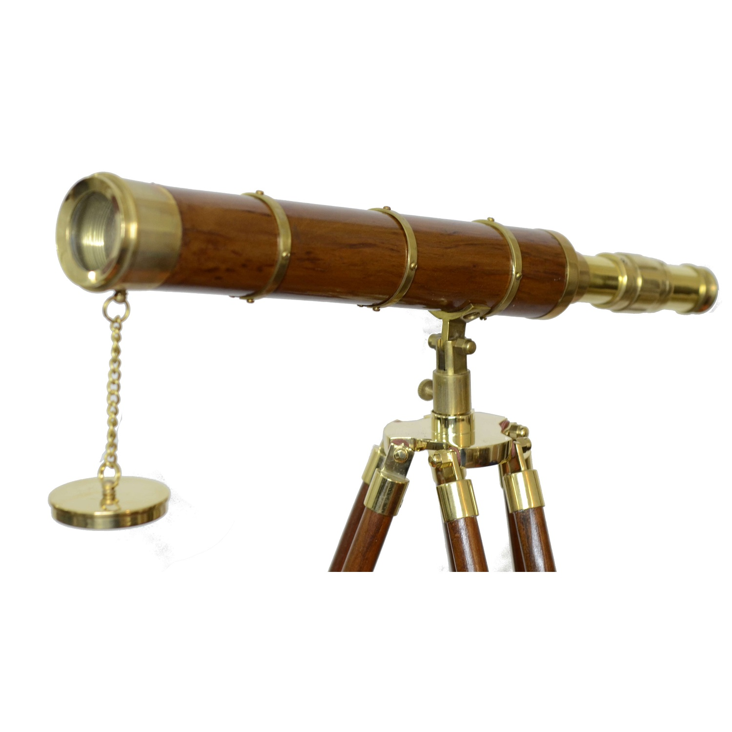 18 Inches Brass Work Wooden Tripod Telescope Antikcart