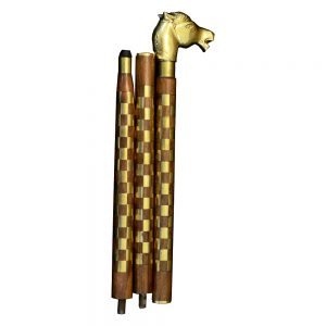 Antikcart Brass Artwork Horse Head Wooden Walking Stick by Antikcart