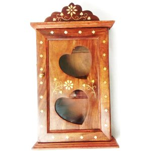 Antikcart Brass Inlay Wooden Key Holder open close