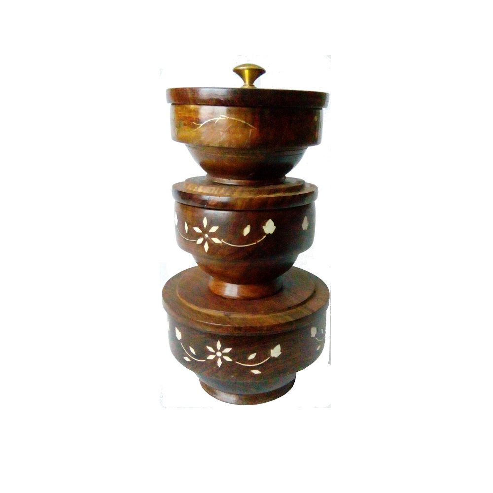 Wooden Hand carved Ethnic Style Serving Bowl with Lid - Antikcart