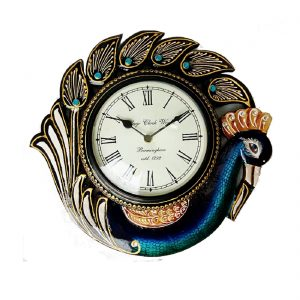 Antikcart Elegant Multicolor Wooden Peacock Clocks