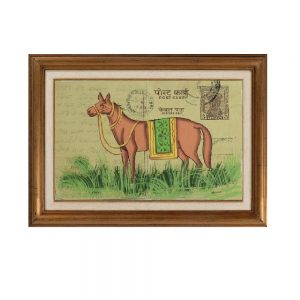 Antikcart Exclusive Old Post Card Painting-Horse