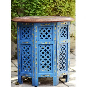Antikcart Jali Work Sheesham Wood Handicraft Foldable Side table Solidwood Decor Artwork Jali sidetable Antikcart