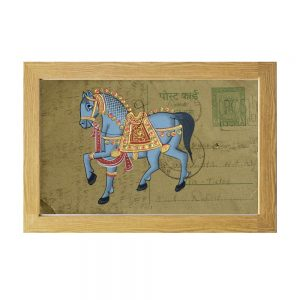 Antikcart Marvelous Post Card Painting Of Palace horse - framed