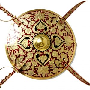 Antikcart Rajasthani Maharaja Antique Brass Sword Shield Set