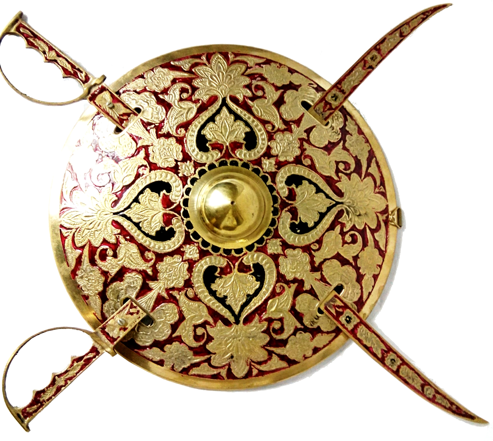 Rajasthani Maharaja Antique Brass Sword Shield Set - Antikcart