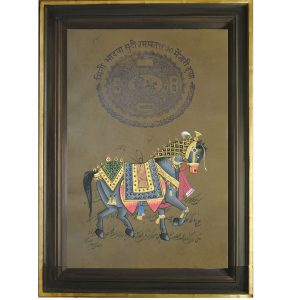 Antikcart Royal Painting of Palace Horse on Stamp Paper- Framed Painting view