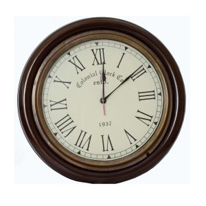 Antikcart Teak Finish Vintage Colonial Classic Wall Clock Decor
