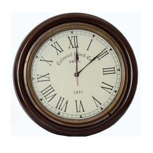 Antikcart Teak Finish Vintage Colonial Classic Wall Clock Decor