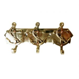 Antikcart full brass wall hanger with hooks ship anchor figure
