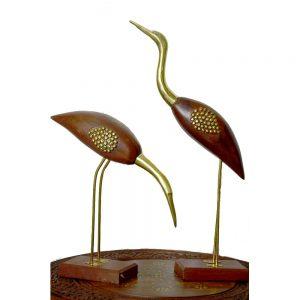 Arvi Sheesham Wood Brass Inlay Swan Pair Decor by Antikcart maiin