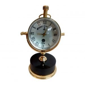 Black Marble Base Brass Vintage Desk Clock by Antikcart