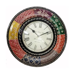Chandramukhi Rajasthani wooden hand crafted Minakari Wall Clock by antikcart