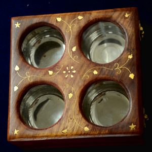 Indian Brass Inlay Sheesham Wood Dry Fruit Box Antikcart 4