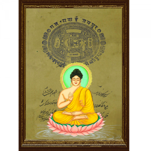 Lord Budha Stamp Paper Paintings Collection by Antikcart Framed View