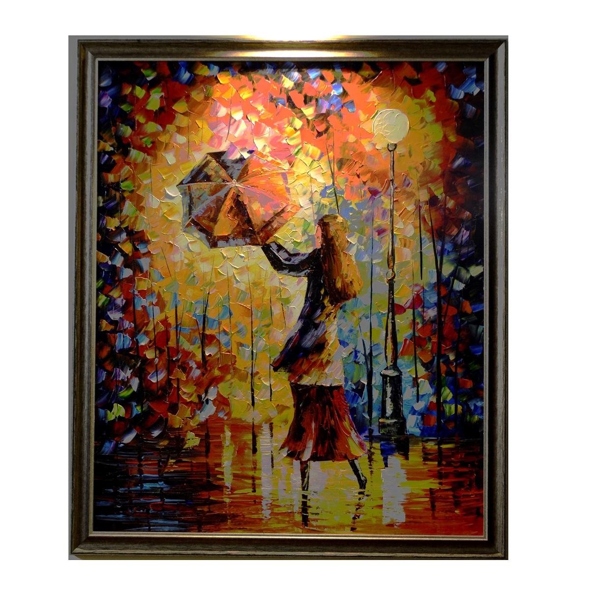My Rainy Dance Knife Pallete Art Canvas Oil Painting