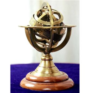 Passion 4 inches Brass Metal Armillary Sphere globe decor from Antikcart