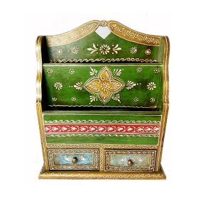 Rajasthani Minakari decorative magazine holder with drawer by Antikcart
