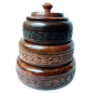 Rosewood Hancarved Beautiful Dry Fruit Set by Antikcart