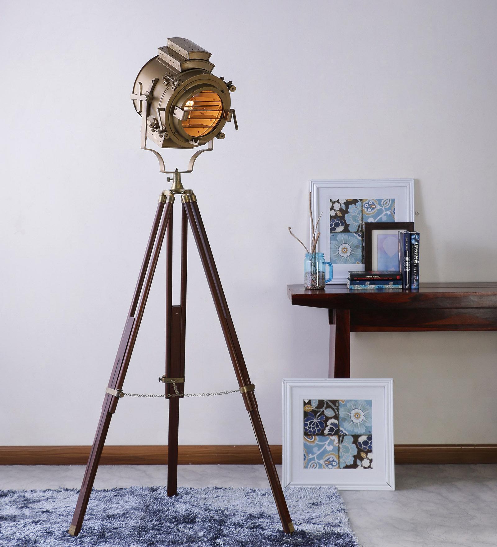 Vintage Wooden Tripod Brass Floor Lamp