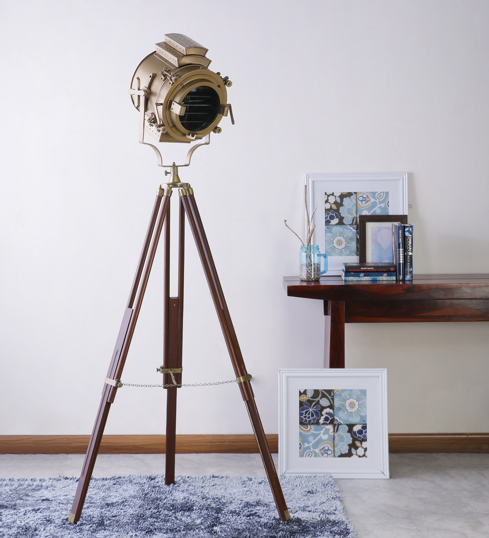 Sheesham Wood And Br Tripod Floor Lamp Vintage Decor By Anikcart View