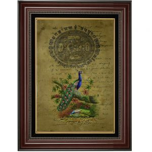 Stunning Beauty Of Peacock Painted on Old Time Stamp Paper-Framed Antikcart