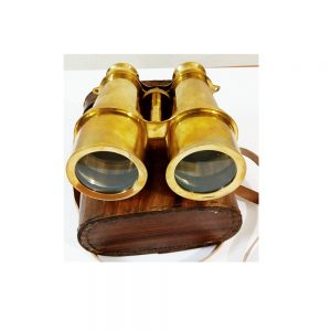 Vintage Full Brass Binocular with Leather Case by Antikcart in case