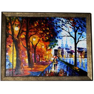 Walk the Love - Palette Knife Oil Painting On Canvas by Antikcart