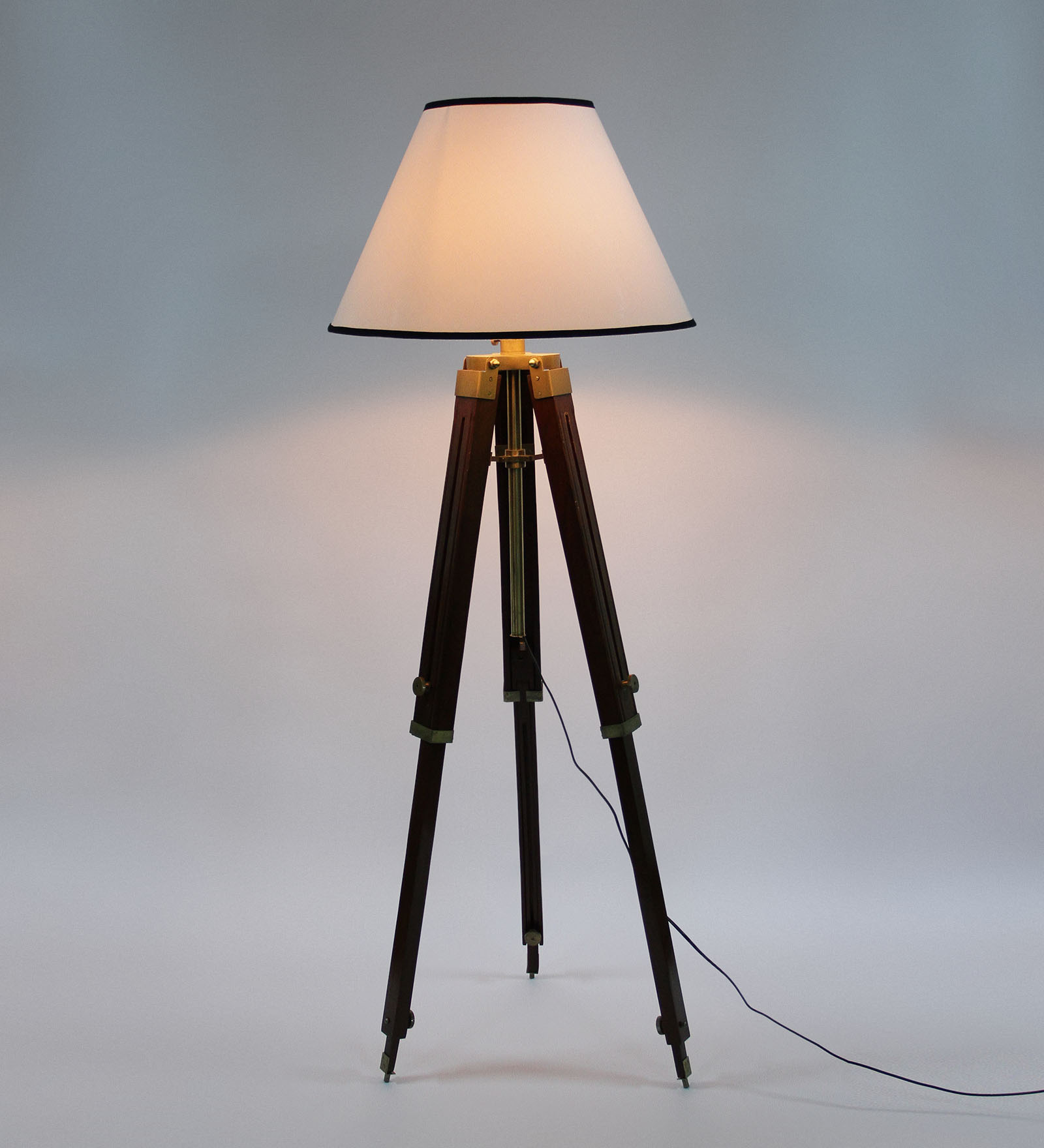 White Wooden Base Tripod Floor Lamp Antikcart