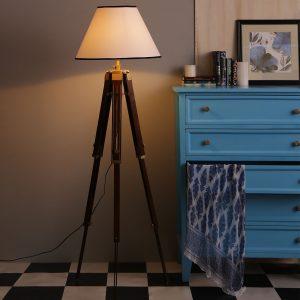 White Lamp Shade Sheesham Wood Tripod Floor Lamp Vintage Room Decor by Antikcart light on